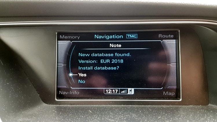 Audi Bnav 2018-as terkep frissites